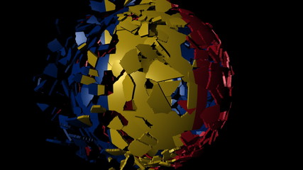 Romania flag sphere combining and breaking apart animation