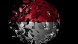 Singapore flag sphere combining and breaking apart animation