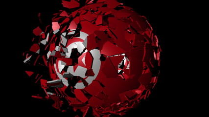 Tunisia flag sphere combining and breaking apart animation