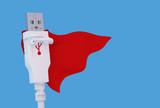Posing super hero USB connector