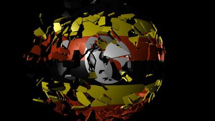 Uganda flag sphere combining and breaking apart animation
