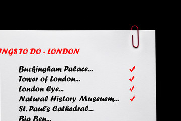 London Landmarks - Checklist.