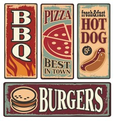 Vintage fast food tin signs