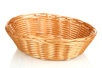 Wicker basket for bread isolated on white