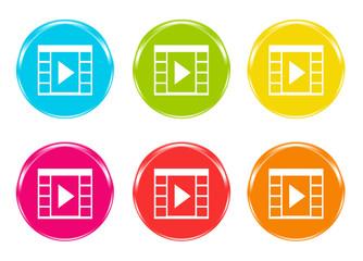 Iconos de colores con símbolo de película de vídeo