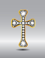 Christian Cross in Gold with Diamond Stones