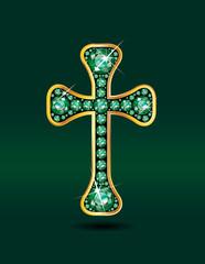 Christian Cross in Emerald with Aquamarine Stones