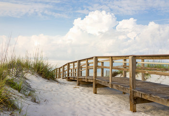 Boardwalk in the Beach Sand Dunes