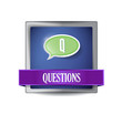 Questions glossy blue button