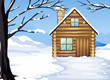 A wooden house in a snowy season