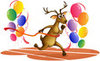 A deer running with balloons