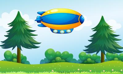 An airship near the hilltop
