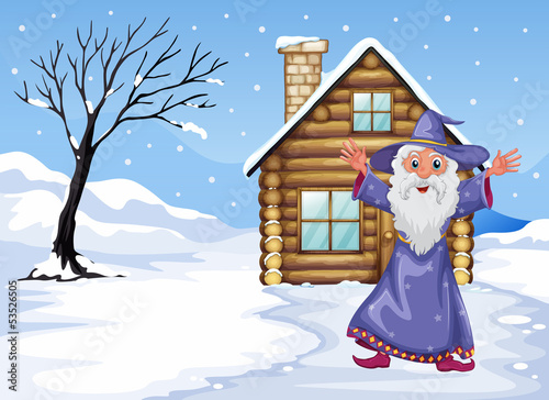 A wizard outside the house on a snowy season