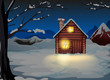 A lighted log house at the snowy land