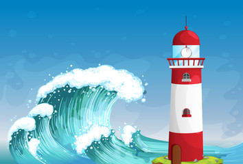 A lighthouse in the middle of the sea with high waves