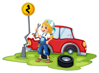 A female mechanic fixing the red broken car