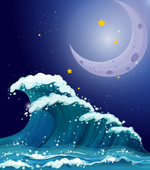 A big wave under the sparkling stars and a bright moon