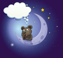 A bear with an empty callout leaning over the moon
