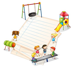 A paper with a park with many kids
