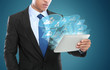 Business man using tablet PC. conceptual image of social network