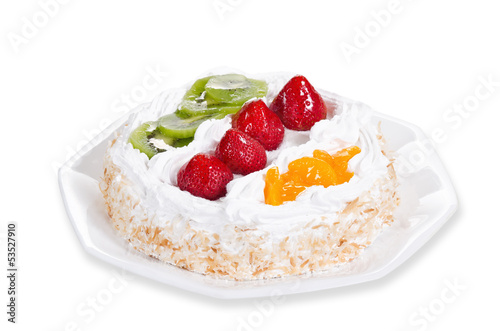 Fresh fruit flan cake with cream over white
