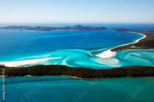 Poster Oceanië Whitehaven Beach aerial view Whitsunday Islands