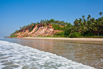 Varkala Beach, with views of the sea on the cliff