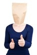 person with blank paper bag head