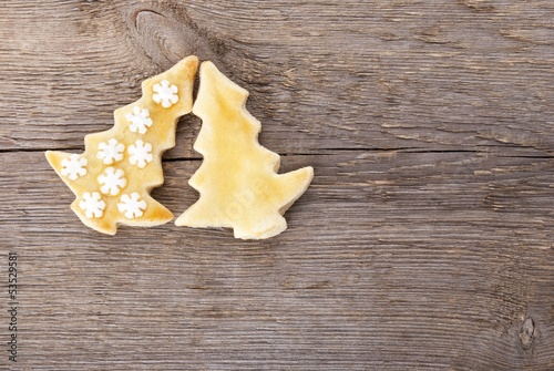 two christmas tree cookies