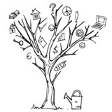 Tree concept with business icons