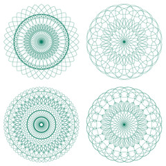 Set of Green Vector Guilloche Rosettes