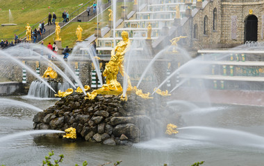 Famous Samson and Lion fountain in Peterhof Grand Palace, Russia