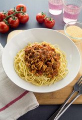 Spaghetti bolognese with ground chicken and mushroom