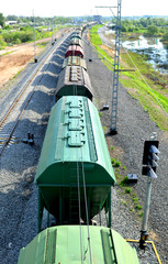 Freight train in motion, top view