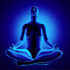 Yoga Woman Sitting Lotus Position Clipping Path Optional Backgro