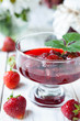 strawberry jam in a transparent bowl