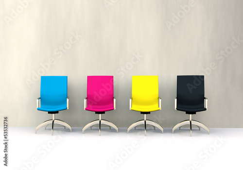 canvas print picture 3D CMYK seats