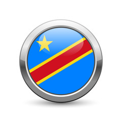 Congolese democratic republic flag icon web button