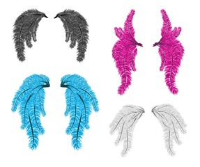 Carnival feather wings vector isolated