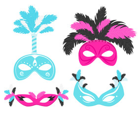 Carnival feather masks vector illustration