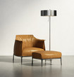 Luxury elegant orange leather armchair with stool and lamp