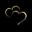 Vector golden Logo two hearts