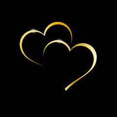 Vector golden 	Logo two hearts