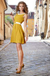 Beautiful fashion woman outdoor on the street of the old town
