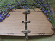 open blank notebook with rosemary and lavender