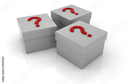 Three gray boxes with red questions isolated on white