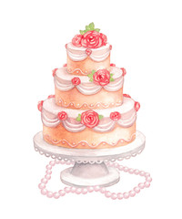 Watercolor illustration of sweet wedding cake