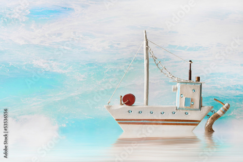 Sommer, Sonne, Meer, Boot - maritimer nautischer Hintergrund