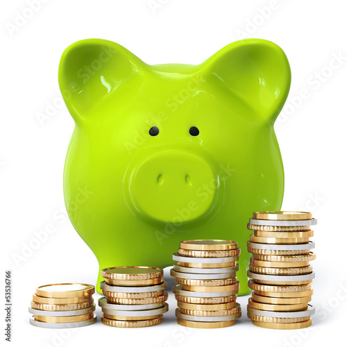 Green piggy bank with coin stacks