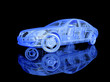 3D Car model on black background with reflection